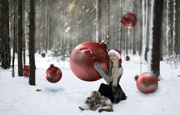 Picture forest, girl, holiday, balls, toys