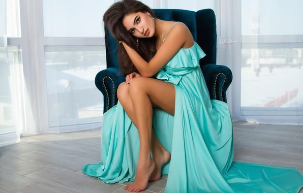 Picture pose, style, feet, model, chair, dress, window, Cyril Zakirov