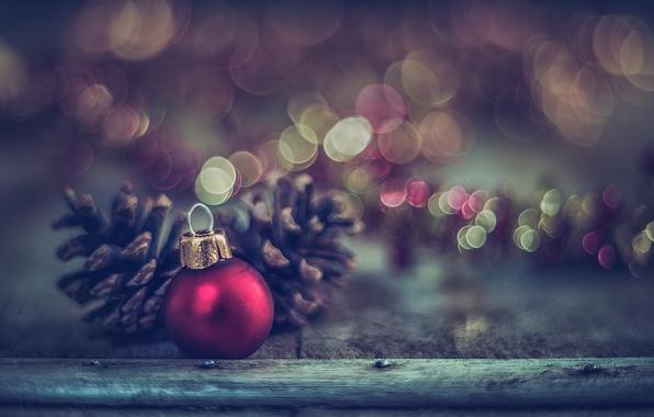 Photo wallpaper ball, decoration, new year, Board, macro, toy, bokeh