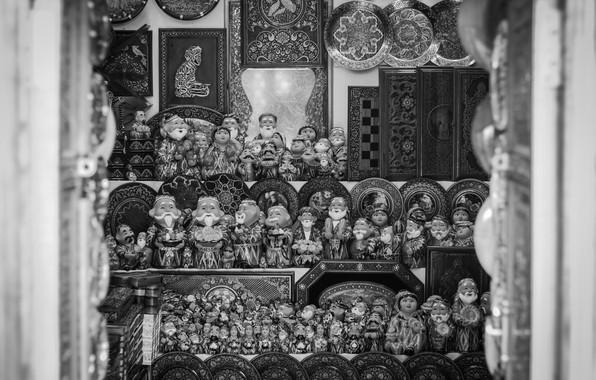 Picture black & white, mosque, shop, black and white, old town, uzbekistan, uzbek, old city, national …