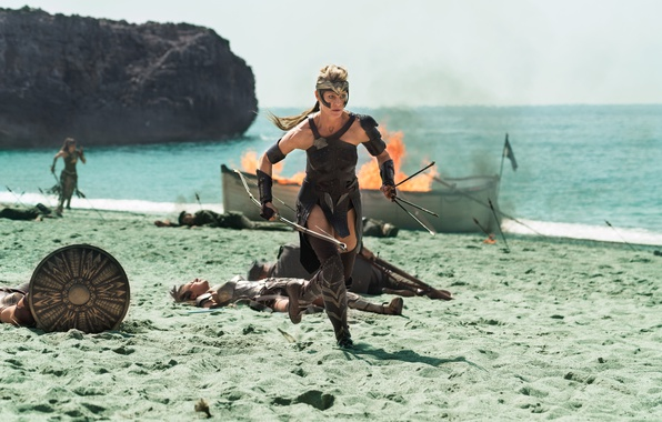 Picture cinema, sword, Wonder Woman, beach, soldier, armor, weapon, man, movie, ken, blade, blonde, film, bow, ...