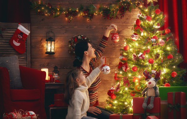 Picture decoration, toys, tree, the evening, New Year, girl, lantern, gifts, garland, mom, 2018, New Year, …
