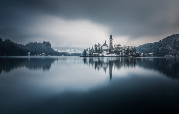 Picture lake, reflection, island, monochrome, Slovenia, Lake Bled, Slovenia, Lake bled, Bled, Assumption of Mary Pilgrimage ...