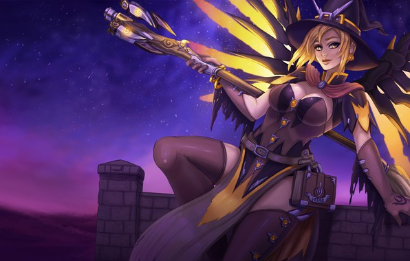 Picture girl, night, hat, art, costume, witch, blizzard, overwatch, Mercy, angela ziegler, Witch Mercy