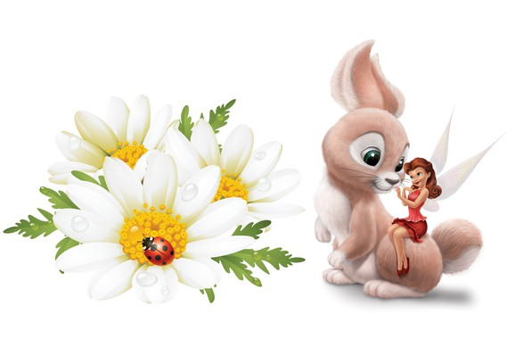 Picture flowers, Rosa, ladybug, Daisy, fairy, art, Bunny, children's, princess, Tinker Bell Fairies
