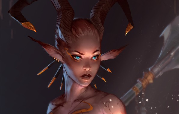 Picture look, fantasy, art, horns, Satyr