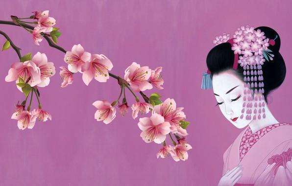 Picture girl, Japanese, spring, Sakura, art, kimono, tradition, kanzashi
