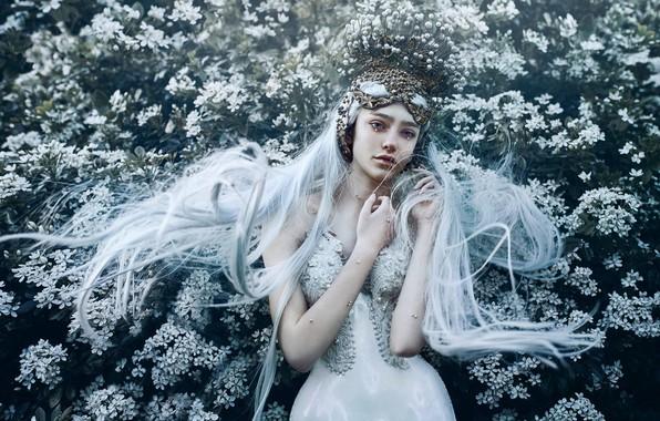 Picture girl, flowers, pose, style, mood, hands, Princess, long hair, blue hair, Bella Kotak