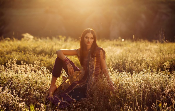 Picture girl, the sun, decoration, nature, pose, glade, makeup, hairstyle, outfit, brown hair, beautiful, sitting, in …