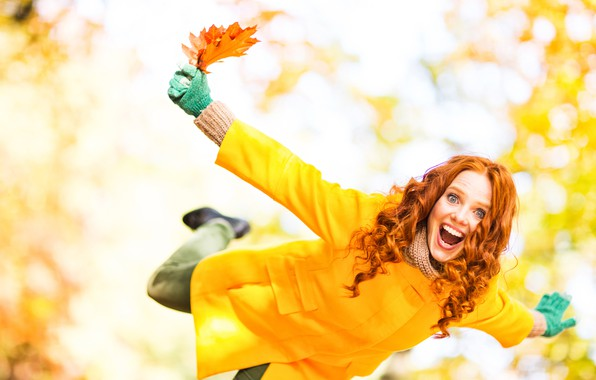 Picture autumn, leaves, girl, joy, happiness, emotions, yellow, scarf, hairstyle, gloves, red, coat, bokeh
