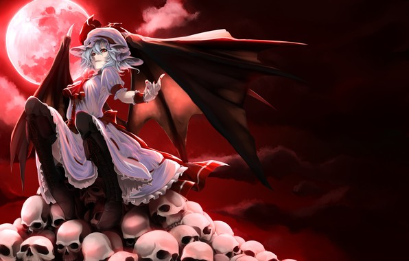 Picture night, skull, bat, the full moon, blood moon, vampire, black wings, Touhou Project, a pile …