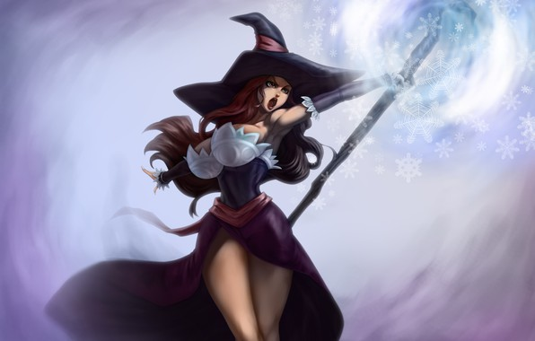 Picture chest, girl, feet, hat, dress, Tits, staff, witch, dragon's crown, sorceress
