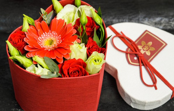 Picture box, heart, roses, gerbera, composition
