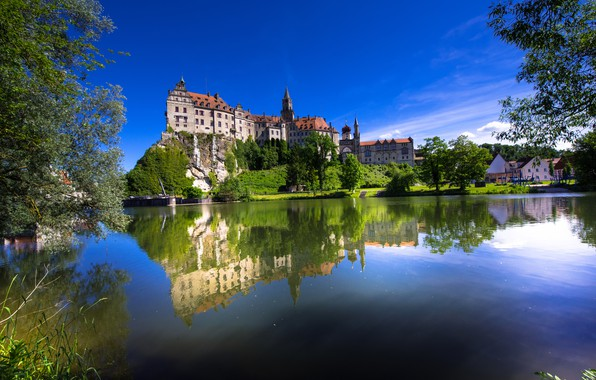 Picture trees, rock, reflection, river, castle, Germany, Germany, Baden-Württemberg, Baden-Württemberg, Sigmaringen Castle, Danube River, Sigmaringen, Sigmaringen, …