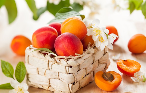 Picture leaves, flowers, close-up, fruit, basket, peaches, bokeh
