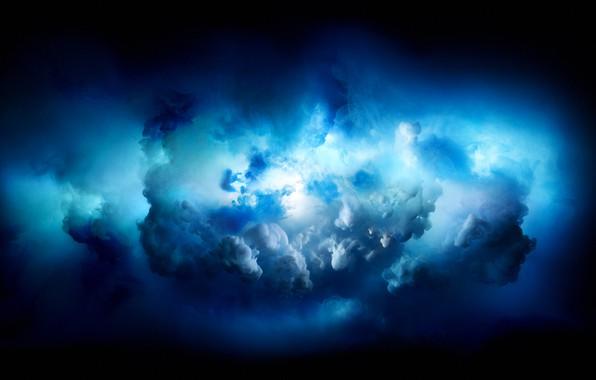 Picture blue, black, paint, iMac Pro