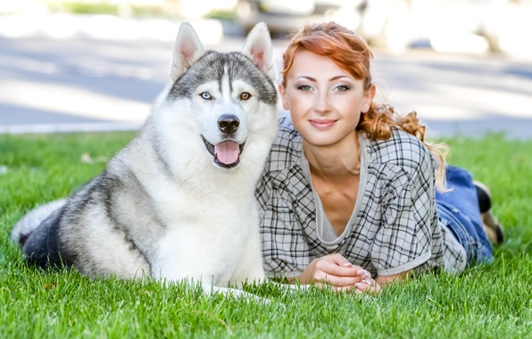 Picture greens, girl, lawn, dog, red, husky, on the grass, lie, bokeh