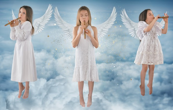 Picture the sky, music, girls, angels