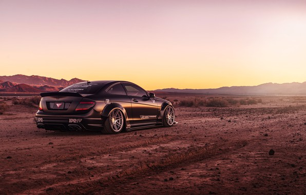 Picture design, style, black, desert, Mercedes, car