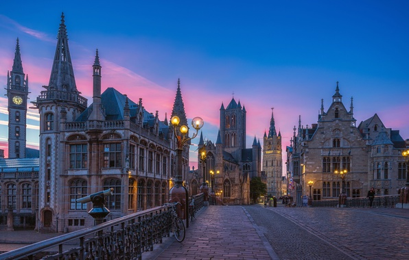 Picture the sky, sunset, street, lights, Belgium, evening, street, houses, Belgium, Ghent