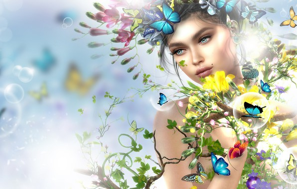 Picture girl, butterfly, flowers, spring, art