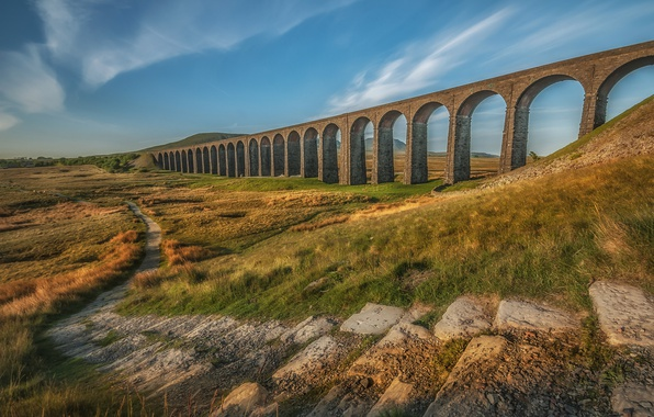 Picture England, arch, path, viaduct, Ribblehead