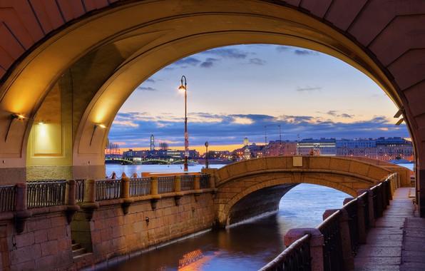 Picture mystic, lantern, The Hermitage, twilight, promenade, granite, Neva, Winter canal, The Hermitage bridge, Saint Petersburg
