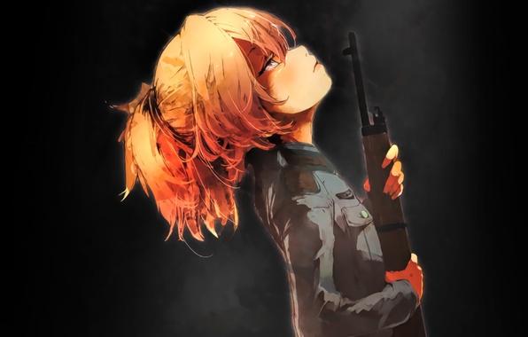 Picture girl, gun, soldier, military, weapon, war, Germany, eyes, anime, sniper, blonde, asian, pose, rifle, manga, …