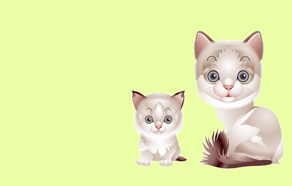 Picture cat, vector, baby, art, kitty, mom, children's