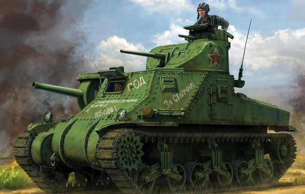 Picture USSR, Lee, during the Second world war, American medium tank, Eastern front