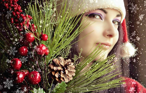 Picture winter, girl, joy, holiday, new year, Christmas, New Year, brunette, maiden, Asian, snowfall, beautiful girl, …