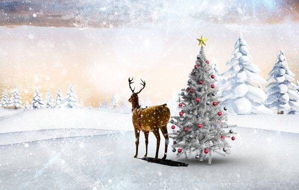 Picture winter, forest, snow, trees, snowflakes, holiday, balls, glade, toys, star, new year, deer, the snow, …