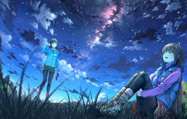 Picture the sky, night, girls, art, k ryo