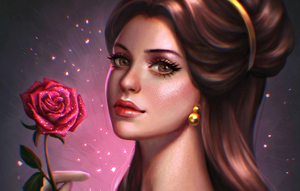 Wallpaper Figure, Rose, Belle, Beauty And The Beast