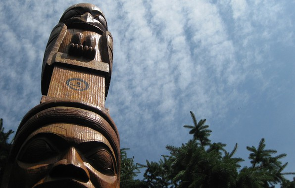 Picture sky, wood, totem