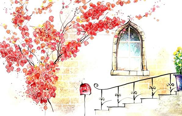 Picture autumn, figure, window, art, watercolor, picture, porch, tree