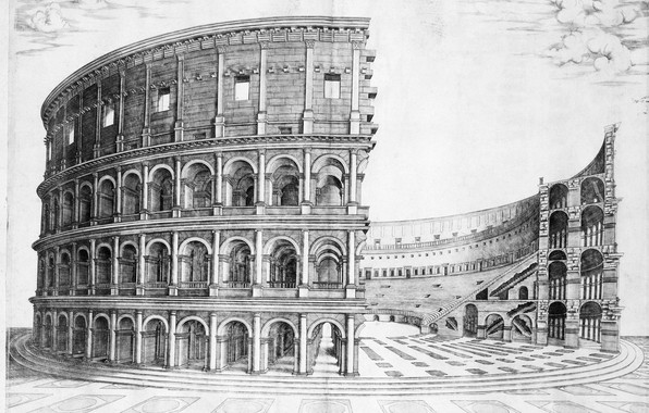 Picture ancient Rome, the Flavian amphitheatre, construction of the colosseum