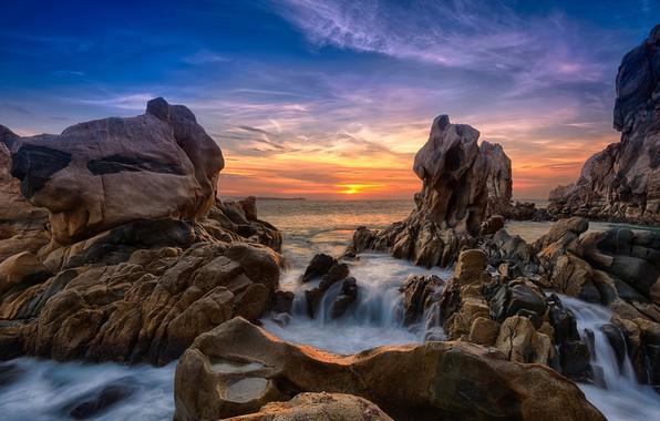 Picture sunset, rocks, coast