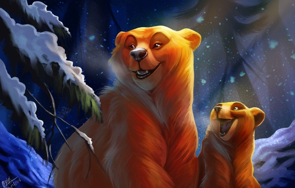 Picture winter, forest, night, bear, bear, by TehChan