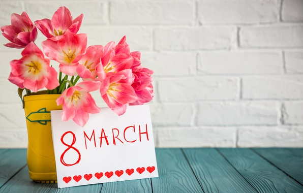 Photo Wallpaper Bouquet Tulips March 8 Postcard Spring Festival