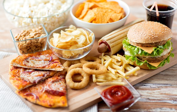 Picture pizza, chips, French fries, Burger, fast food, onion rings