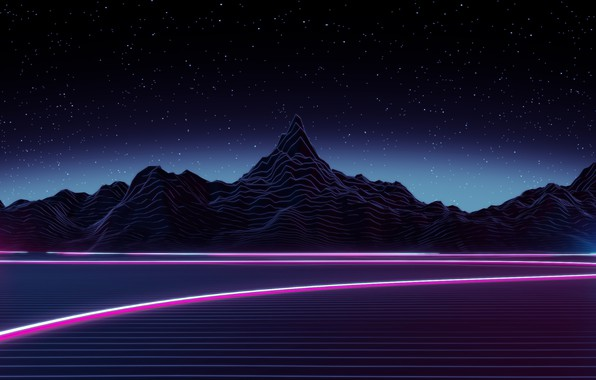 Picture The sky, Mountains, Night, Music, Stars, Neon, Space, Graphics, Synthpop, Synth, Synth-pop, Sinti