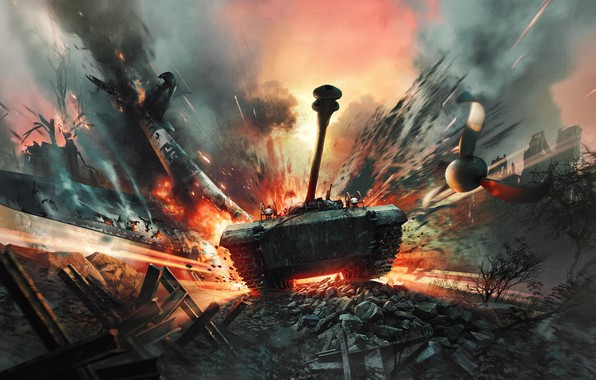 Picture the explosion, fire, the crash, screw, the plane, poster, American, German, PT-ACS, War Thunder, M18 ...