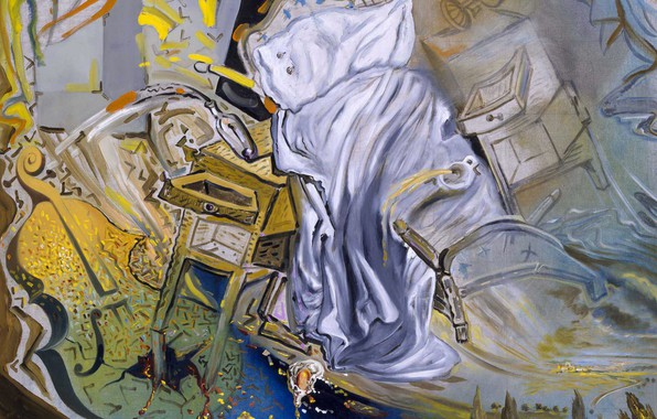 Picture surrealism, picture, Salvador Dali, Salvador Dali, Ferociously Attacking A Cello, Bed and Two Bedside Tables