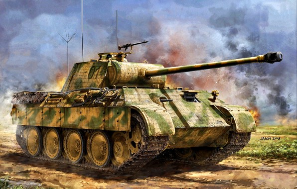 Picture Germany, Panther, Tank weapon, Average, Painting, WWII, Pz.Kpfw.V, command tank