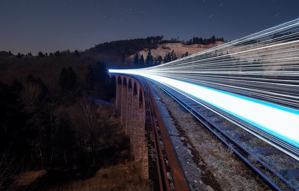 Picture night, lights, train, railroad, Ghost Train