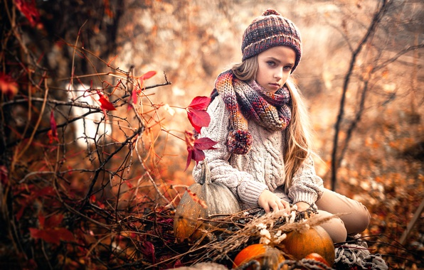 Picture sadness, autumn, girl, Sergey Piltnik