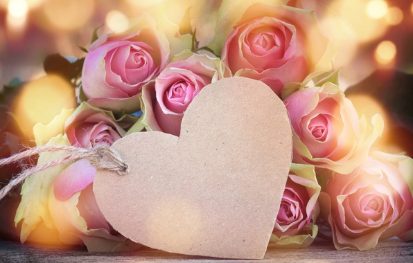 Picture roses, love, buds, heart, pink, flowers, romantic, roses, valentine`s day