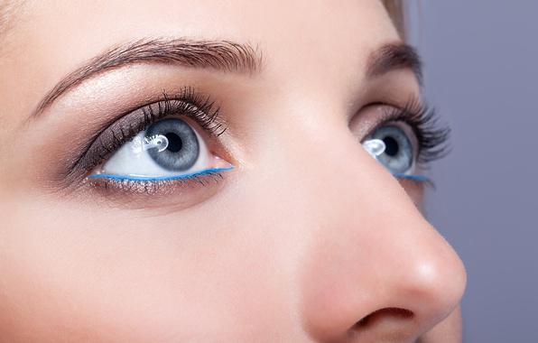 Photo wallpaper blue eyes, female, make up