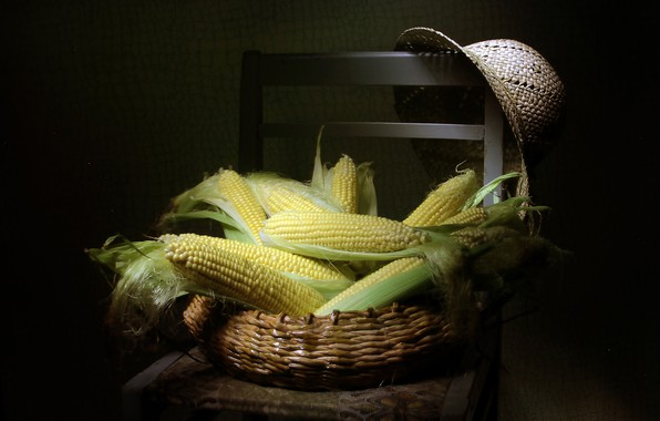 Picture hat, corn, chair